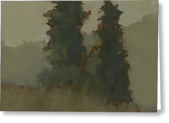 Pair Of Trees Greeting Card by John Holdway