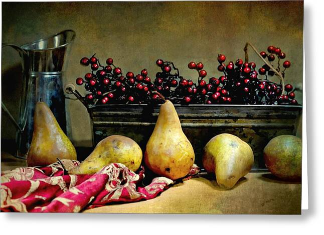 Old Pitcher Greeting Cards - Pairs of Pears Greeting Card by Diana Angstadt
