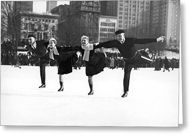 Ice-skating Greeting Cards - Pairs Skating In Central Park Greeting Card by Underwood & Underwood