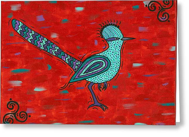 Susie Weber Greeting Cards - Paisano Petra - Roadrunner Greeting Card by Susie WEBER
