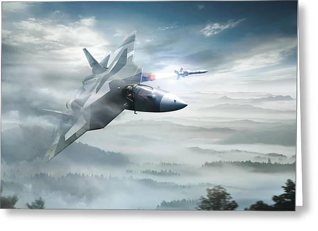 Pak Fa Aka T-50 - Russian Fifth-generation Fighter Jet Greeting Card by Anton Egorov