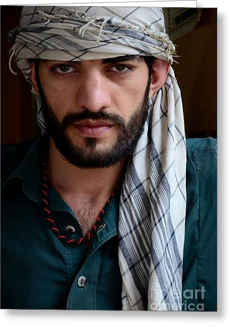 White Cloth Greeting Cards - Pakistani Pashtun man models with headscarf and necklace Peshawar Pakistan Greeting Card by Imran Ahmed