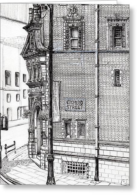 Urban Buildings Drawings Greeting Cards - Palace Hotel Oxford Street Manchester Greeting Card by Vincent Alexander Booth