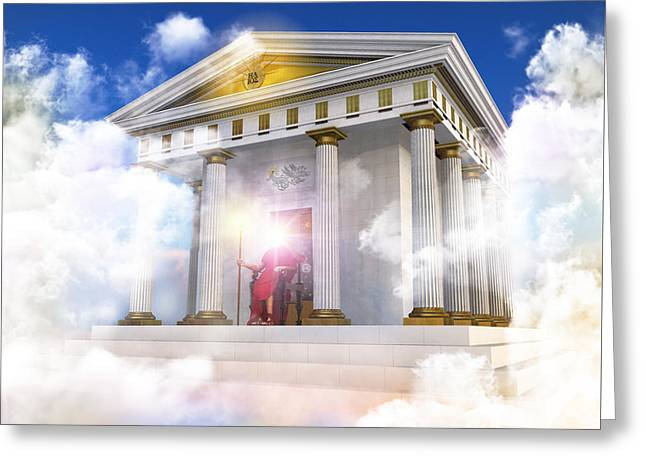 Book Cover Art Greeting Cards - Palace Of Helios The Titan God Of The Sun Greeting Card by Leone M Jennarelli