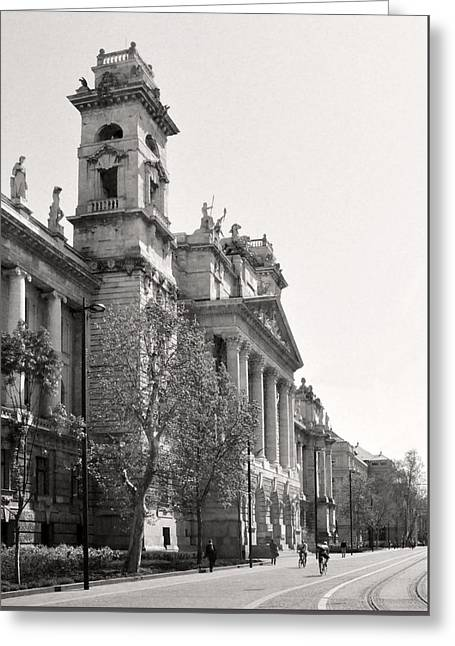 Belles Sculptures Greeting Cards - Palace of Justice Portico Budapest Greeting Card by James Dougherty