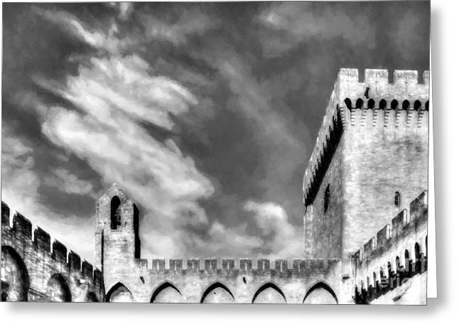 Palace Of The Popes In Avignon Bw Greeting Card by Mel Steinhauer