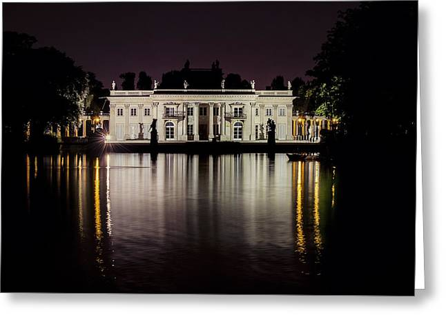 Public Bath Greeting Cards - Palace on the Island at night - frontal view Greeting Card by Jaroslaw Blaminsky