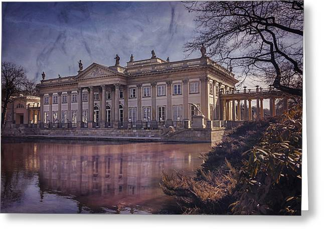Chateau Greeting Cards - Palace on The Water  Warsaw Greeting Card by Carol Japp