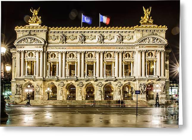 Night Lamp Greeting Cards - Palais Garnier Greeting Card by World Art Photography