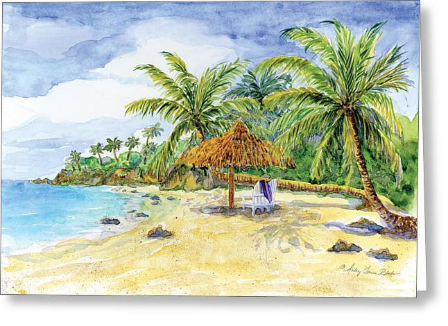 Spa Artwork Greeting Cards - Palappa n Adirondack Chairs on a Caribbean Beach Greeting Card by Audrey Jeanne Roberts