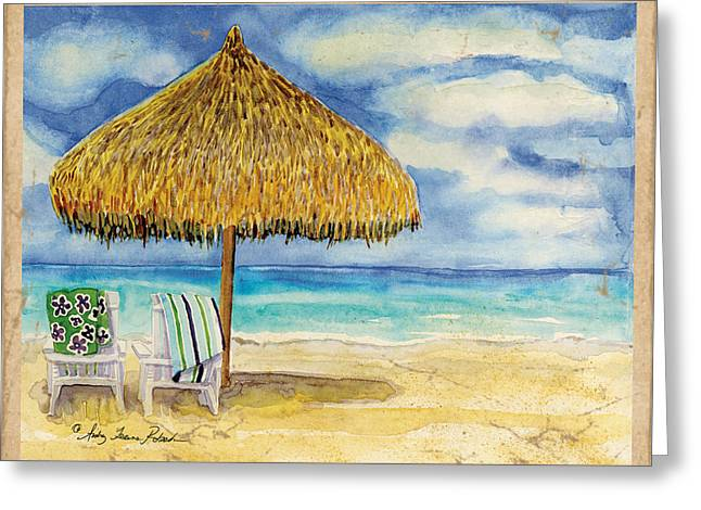 Spa work Mixed Media Greeting Cards - Palappa n Adirondack Chairs on the Mexican Shore Greeting Card by Audrey Jeanne Roberts