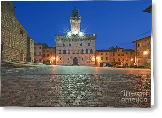 Medieval Clock Greeting Cards - Palazzo Comunale Greeting Card by Rob Tilley