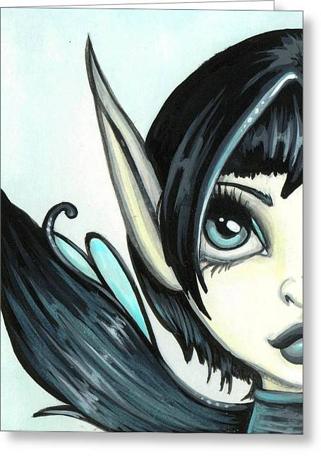 Pixie Greeting Cards - Pale Blue Fae Greeting Card by Elaina  Wagner