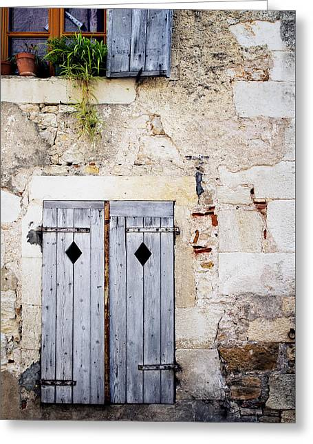 Stone House Greeting Cards - Pale Blue Window Shutters Greeting Card by Georgia Fowler