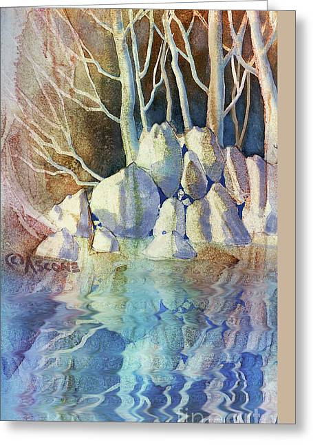 Sienna Greeting Cards - Pale Forest with Rocks Greeting Card by Teresa Ascone