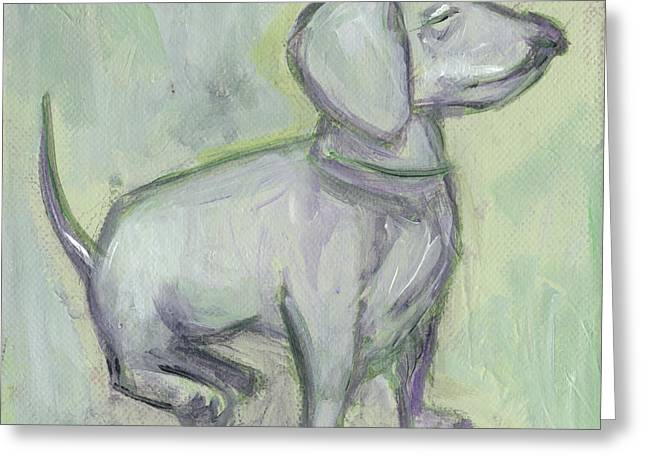 Doxie Greeting Cards - Pale Green Doxie Greeting Card by Robin Wiesneth