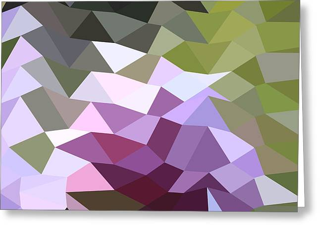 Purple Abstract Greeting Cards - Pale Lavender Abstract Low Polygon Background Greeting Card by Aloysius Patrimonio
