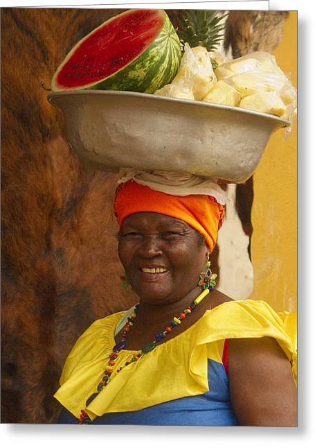 Costume Photographs Greeting Cards - Palenquera in Cartagena Colombia Greeting Card by Anna Smith