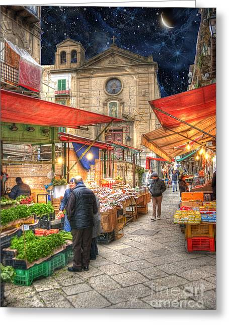 Palermo Market Place Greeting Card by Juli Scalzi