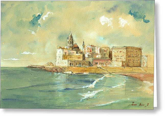Italian Islands Greeting Cards - Palermo Sicily Italy Greeting Card by Juan  Bosco