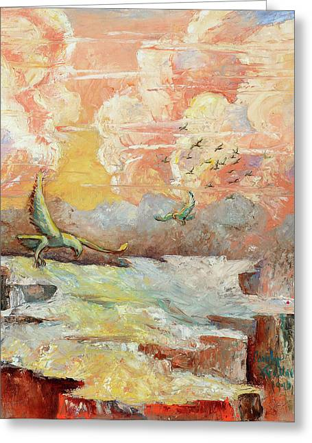 Palette Knife Flight Greeting Card by Carolyn Coffey Wallace