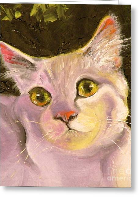 Cat Drawings Greeting Cards - Palette Pal Close Up Greeting Card by Susan A Becker