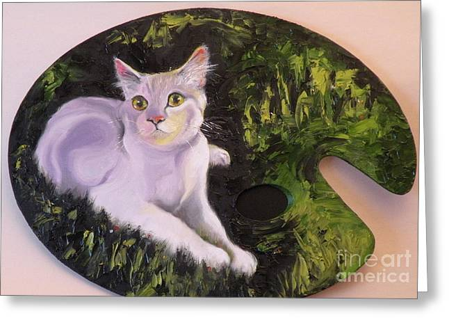 Cat Drawings Greeting Cards - Palette Pal Greeting Card by Susan A Becker