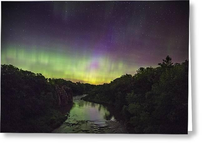 Northernlights Greeting Cards - Palisades Aurora Greeting Card by Aaron J Groen