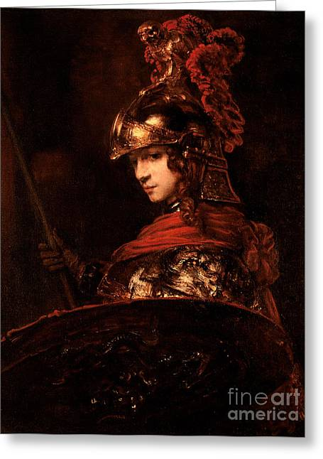 Goddess Greeting Cards - Pallas Athena  Greeting Card by Rembrandt