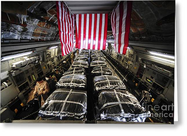 Repetition Greeting Cards - Pallets Of Cargo Inside Of A C-17 Greeting Card by Stocktrek Images