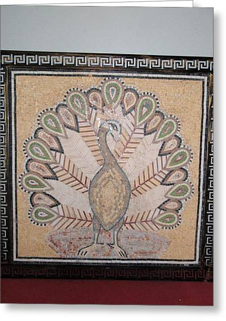 Mosaic Reliefs Greeting Cards - Palloi In Stone Mosaic Greeting Card by Petrit Metohu