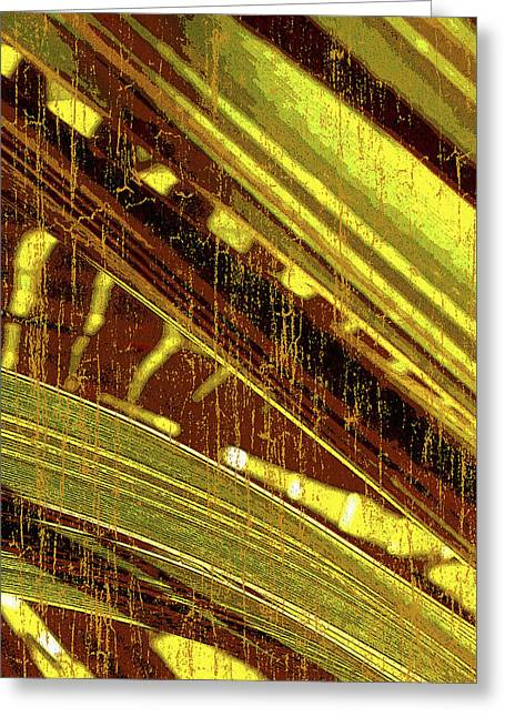 Vibrant Green Mixed Media Greeting Cards - Palm B2 Greeting Card by Kaypee Soh - Printscapes