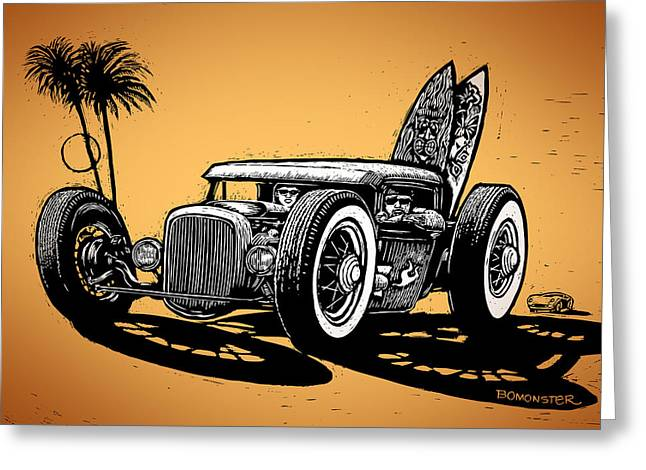 Hot Rodder Greeting Cards - Palm Beach Greeting Card by Bomonster
