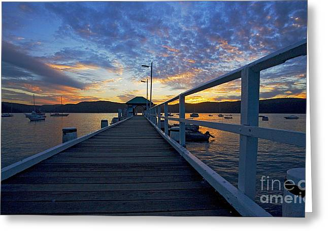Palm Greeting Cards - Palm Beach wharf at dusk Greeting Card by Sheila Smart