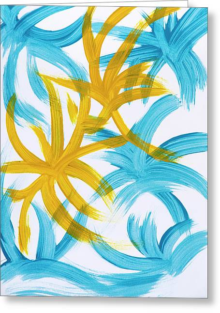 Printed Greeting Cards - Palm Island Abstract Greeting Card by Christina Rollo