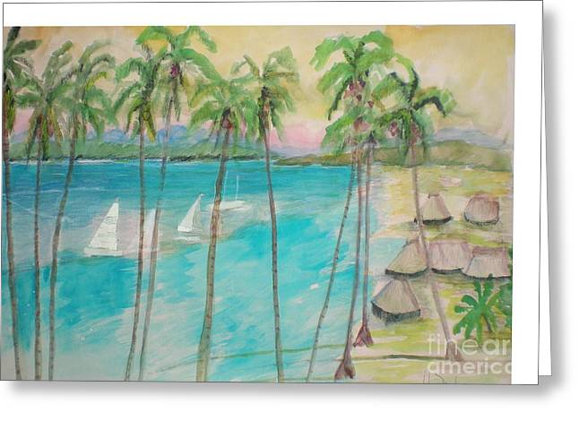 South Pacific Drawings Greeting Cards - Palm Island Greeting Card by Hal Newhouser