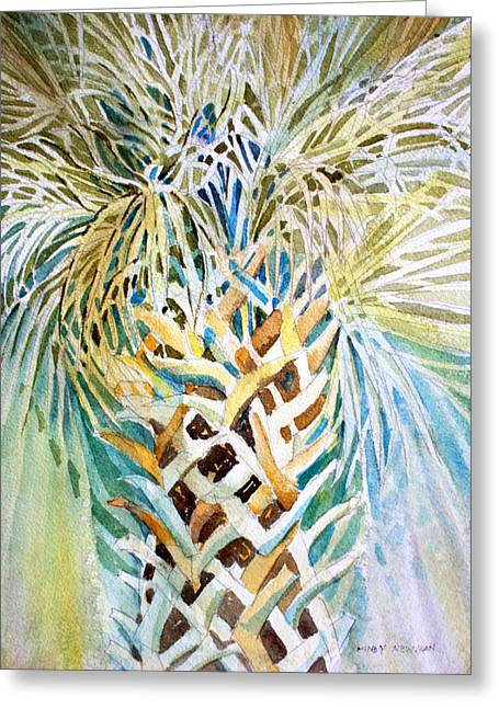 Abstract Rain Drawings Greeting Cards - Palm on Honeymoon Island Greeting Card by Mindy Newman