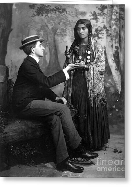 Fortune-teller Greeting Cards - PALM-READING, c1910 Greeting Card by Granger