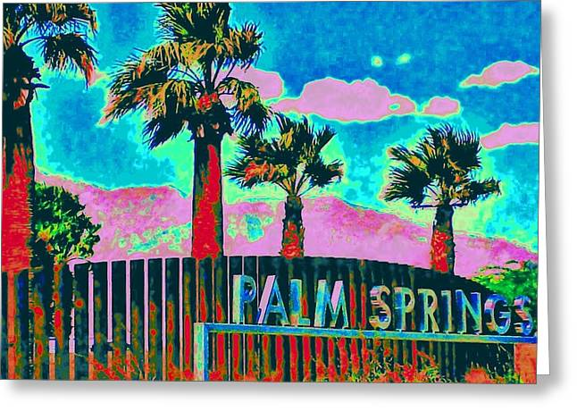 Palms. Palm Trees Greeting Cards - Palm Springs Gateway Three Greeting Card by Randall Weidner