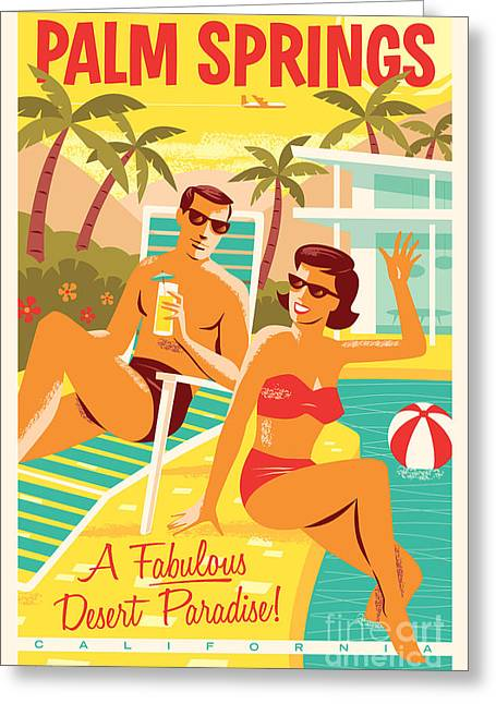 Palm Greeting Cards - Palm Springs Retro Travel Poster Greeting Card by Jim Zahniser