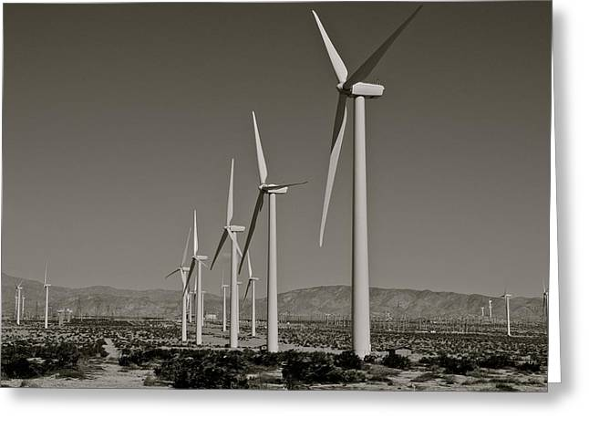 Kirsten Giving Greeting Cards - Palm Springs Windmills I in B and W Greeting Card by Kirsten Giving