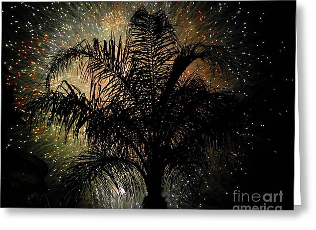 Palm Tree Fireworks Greeting Card by David Lee Thompson
