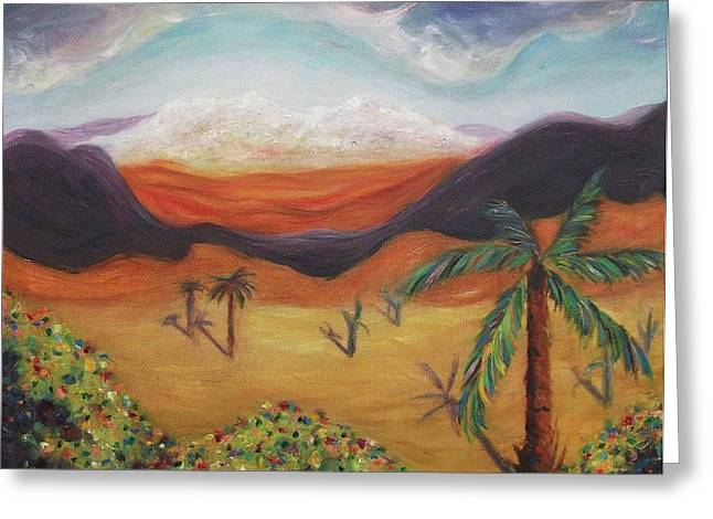 Palm Tree In Desert Greeting Card by Suzanne  Marie Leclair