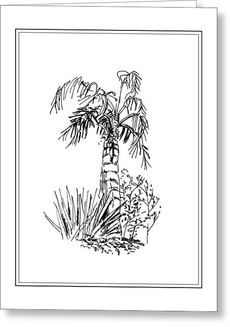 Temperature Drawings Greeting Cards - Palm Tree Greeting Card by Masha Batkova