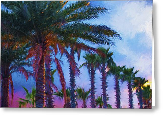 St Petersburg Florida Pyrography Greeting Cards - Palm Trees 3 Greeting Card by Glenn Gemmell