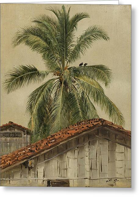 Palm Trees And Housetops Ecuador Greeting Card by Frederic Edwin Church
