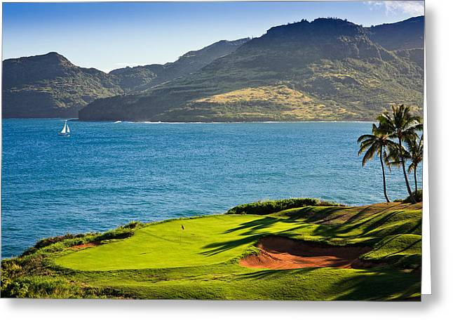 Palm Trees In A Golf Course, Kauai Greeting Card by Panoramic Images