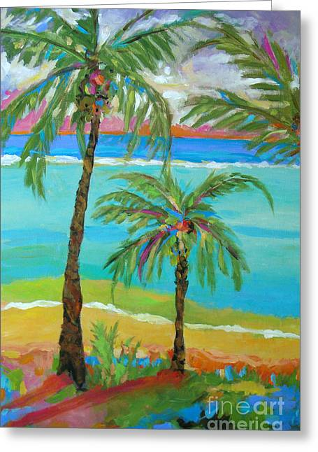 Palm Trees In Landscape Greeting Card by Karen Fields