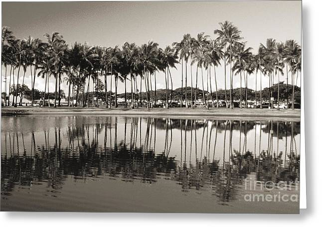 Ala Moana Greeting Cards - Palm Trees Greeting Card by Mary Van de Ven - Printscapes
