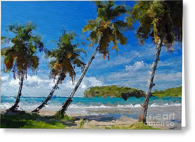Palm Trees On Sandy Beach Greeting Card by Anthony Fishburne